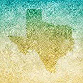 Map of Texas isolated on realistic grunge canvas texture.