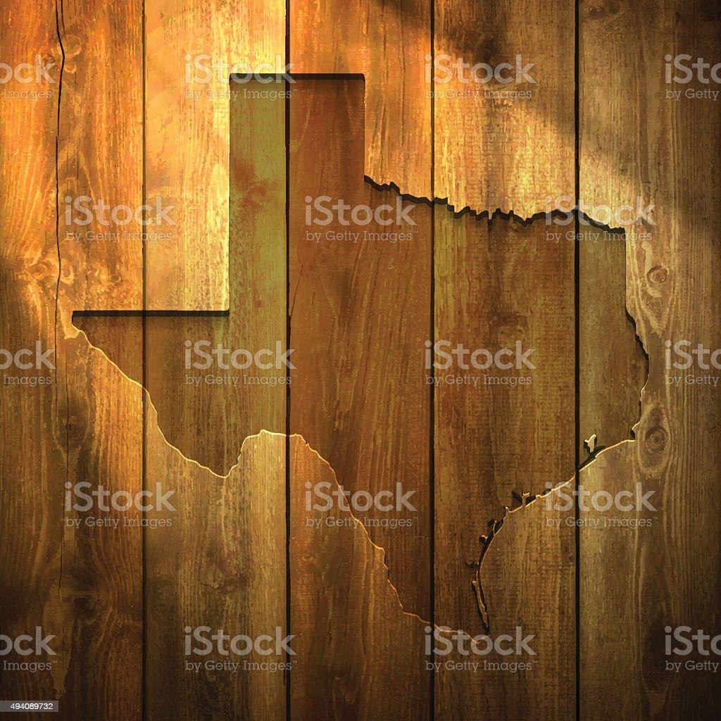 Texas Map on lit Wooden Background vector art illustration