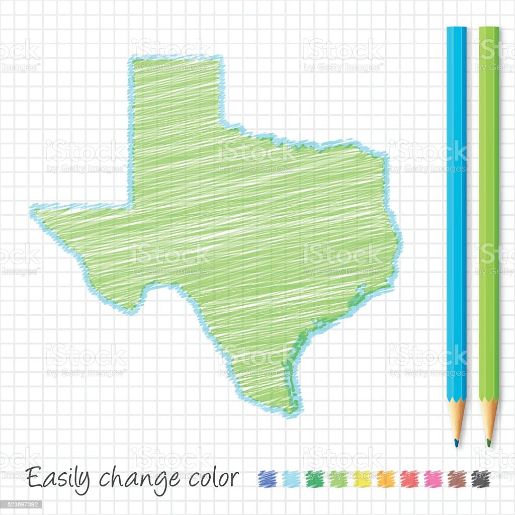 Texas Map Sketch With Color Pencils On Grid Paper Stock Vector Art ...