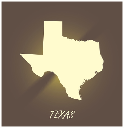 Texas map vector outline cartography black and white illuminated background illustration