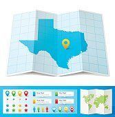 Map of Texas folded with design elements, isolated on white background.