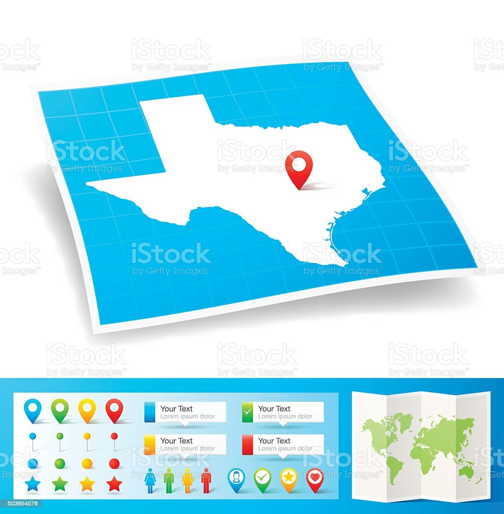 Texas Map with location pins isolated on white Background vector art illustration