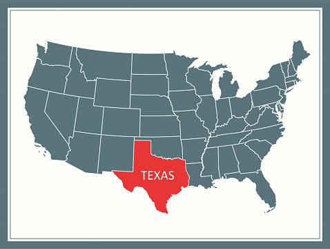 Texas outline vector map USA printable