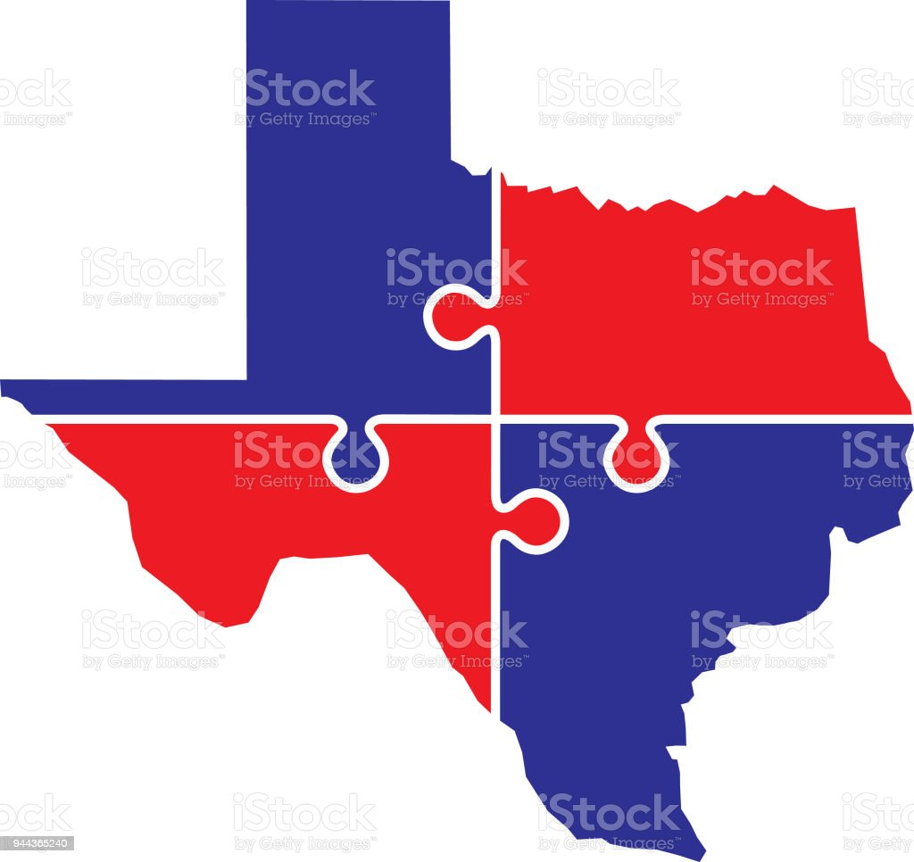 Texas Puzzle Map Stock Vector Art More Images Of Blue - Texas map puzzle