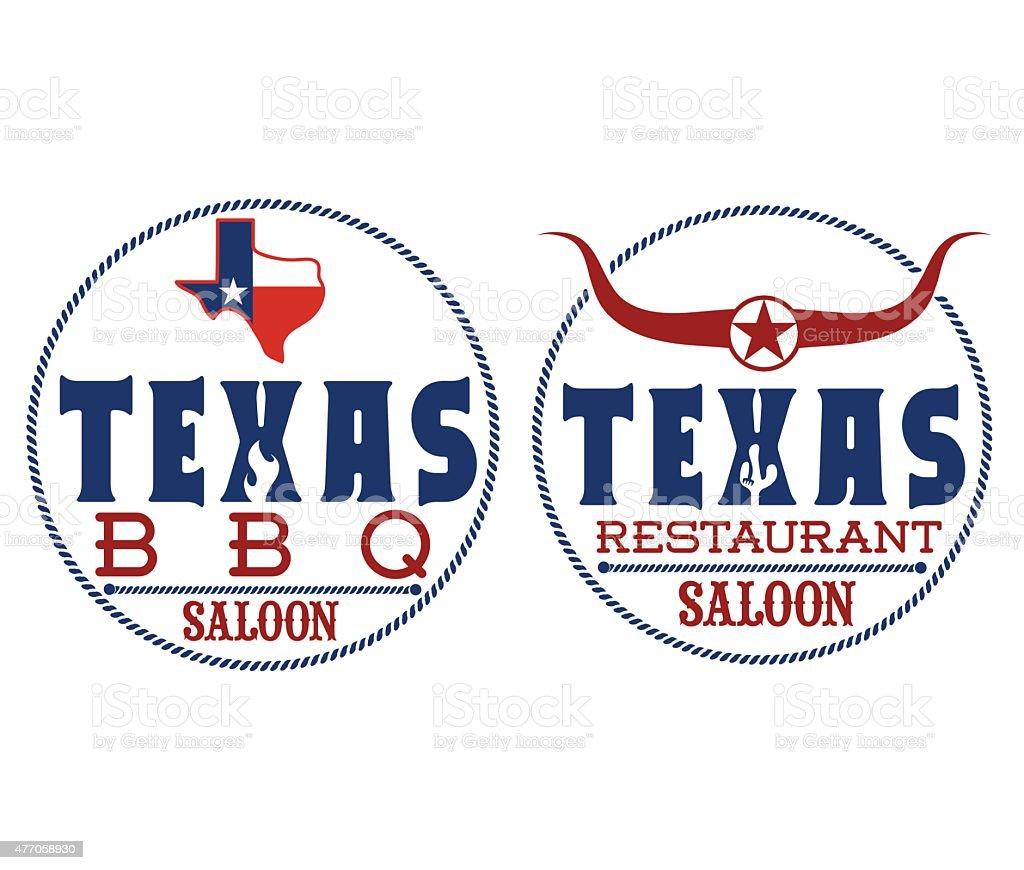 Texas restaurant and bbq vector art illustration