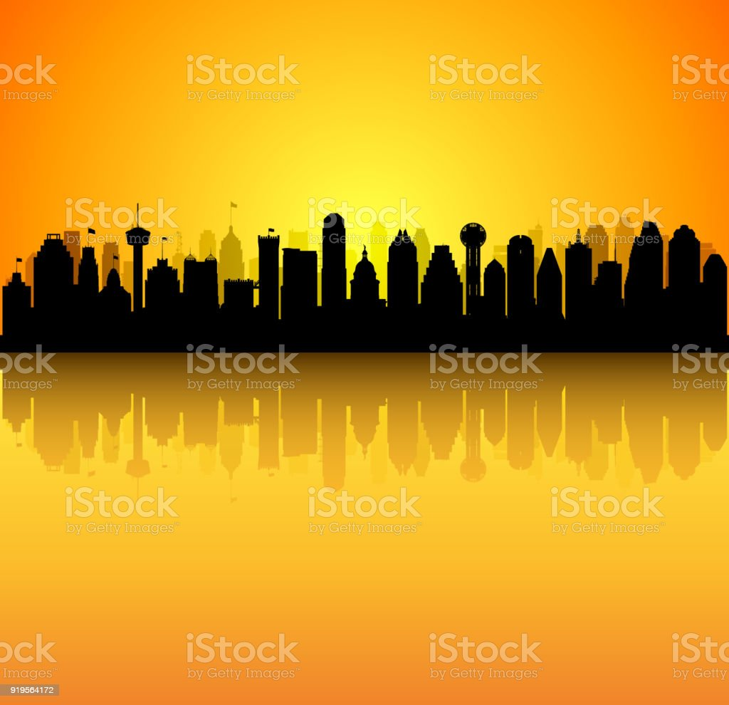 Texas- San Antonio, Austin, Dallas, Houston (Buildings Are Moveable, Complete) vector art illustration