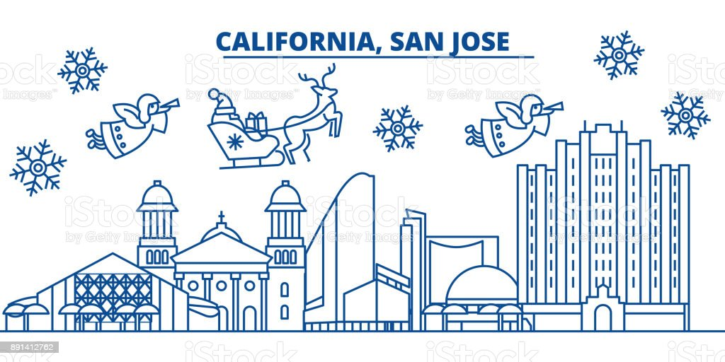 usa texas san jose winter city skyline merry christmas and happy new year