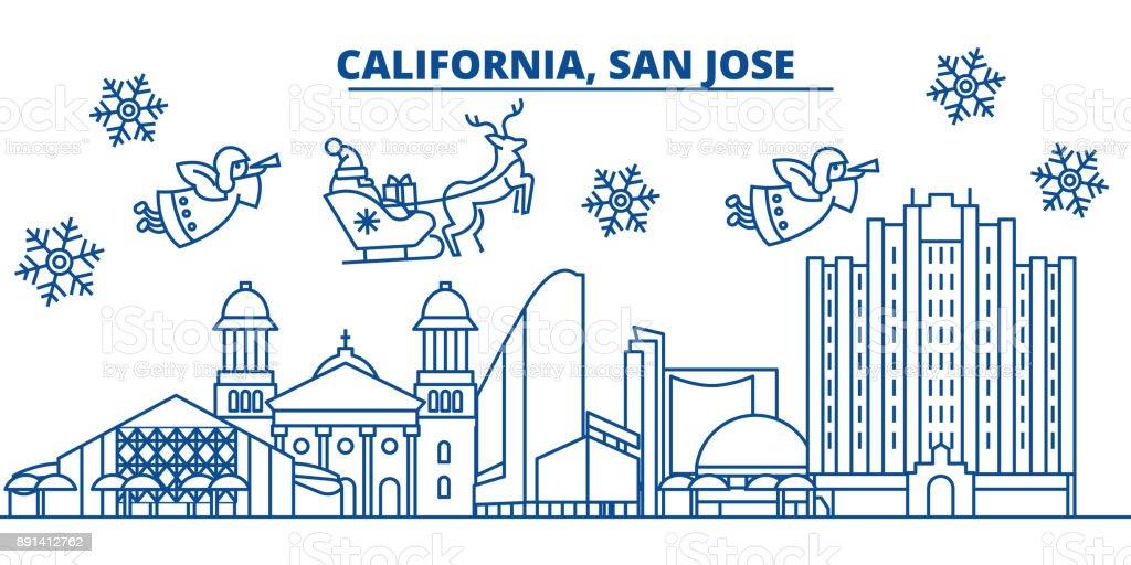 usa texas san jose winter city skyline merry christmas and happy new year