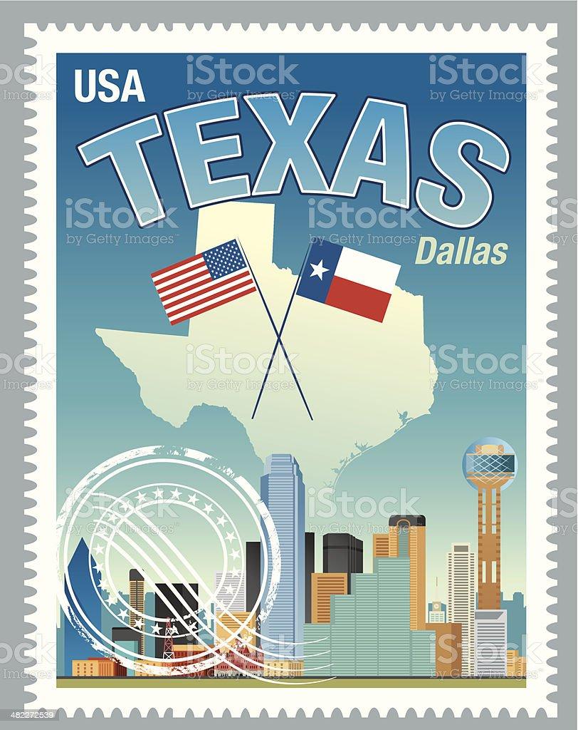 Texas Stamp vector art illustration