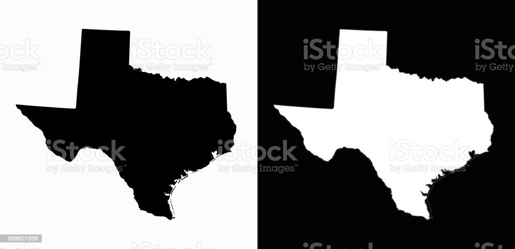 Texas State Black And White Simple Map Stock Vector Art More