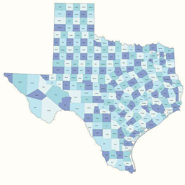 ilustraciones, imágenes clip art, dibujos animados e iconos de stock de condado de mapa del estado de texas - zona urbana