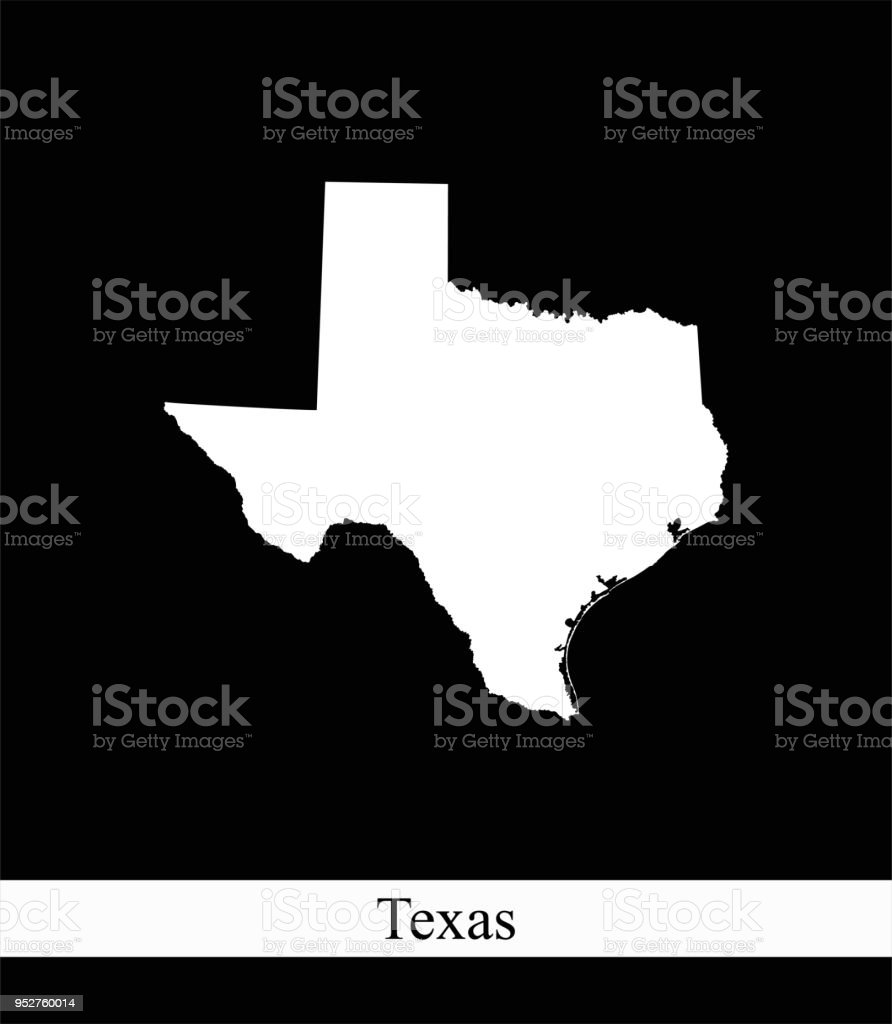 Texas State Of Usa Map Vector Outline Illustration Black And White ...