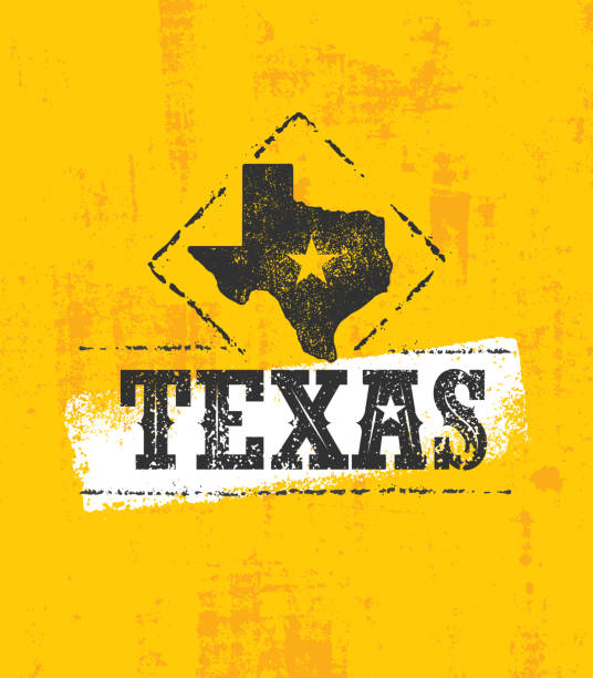 Texas State Rough Vector Illustration On Stained Background Creative Authentic Original Sign Concept texas stock illustrations