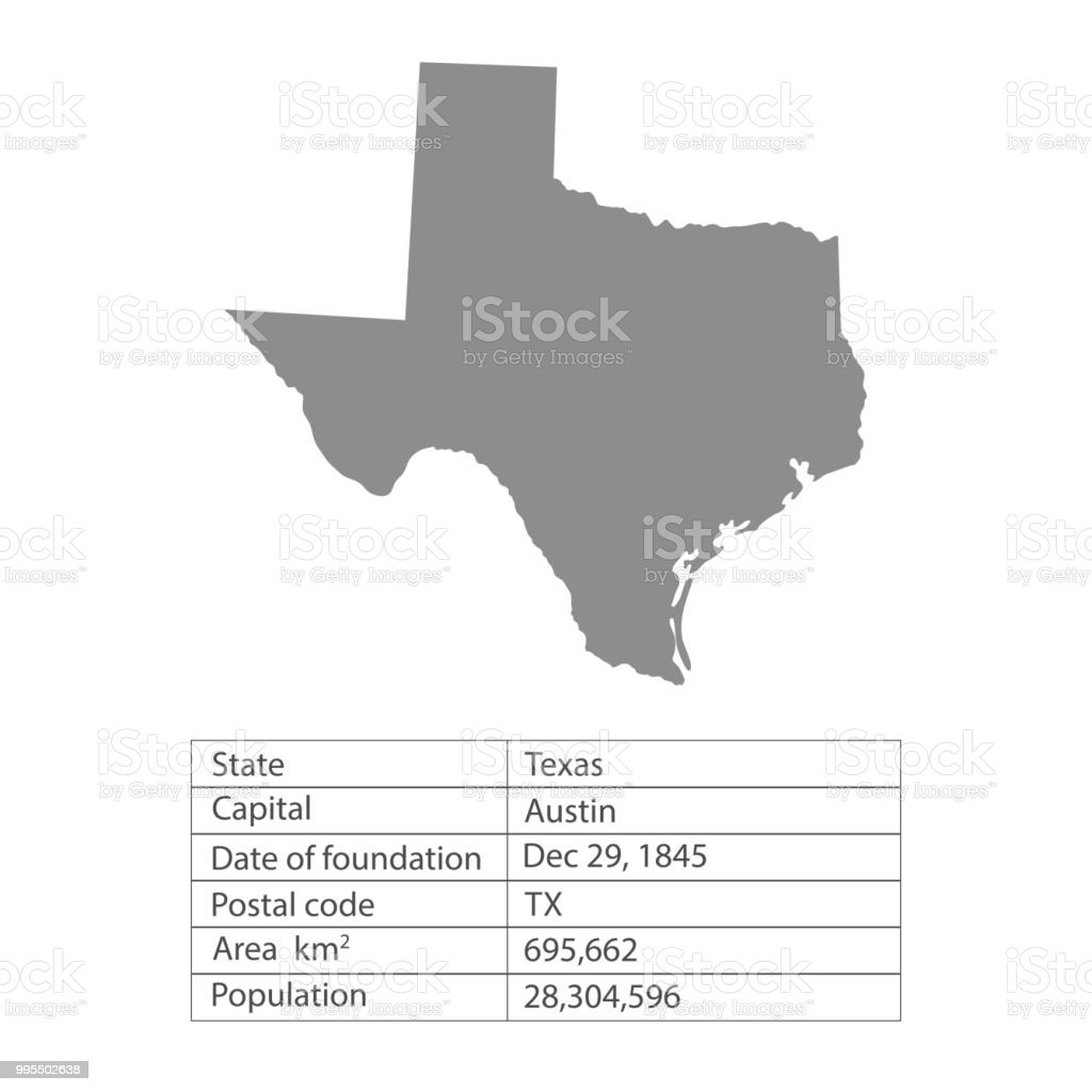 Texas States Of America Territory On White Background Separate