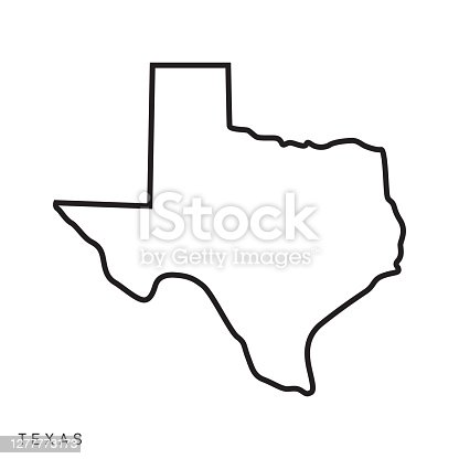 istock Texas - States of USA Outline Map Vector Template Illustration Design. Editable Stroke. 1277773173