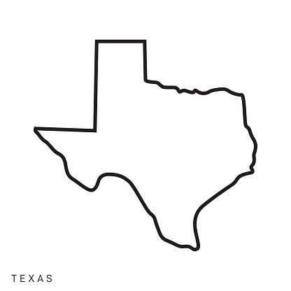 Texas - States of USA Outline Map Vector Template Illustration Design. Editable Stroke. Vector EPS 10.