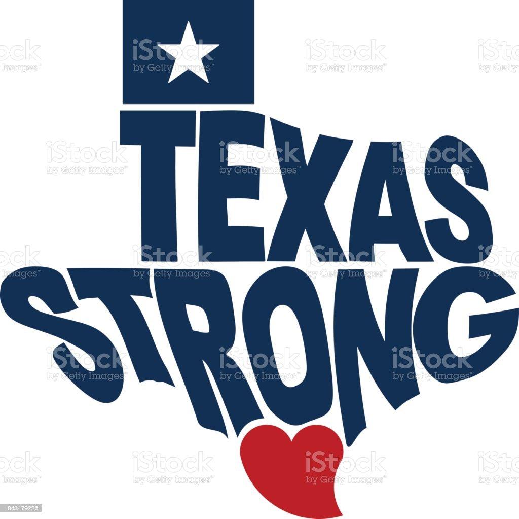 Texas Strong Map Logo Flat Design vector art illustration