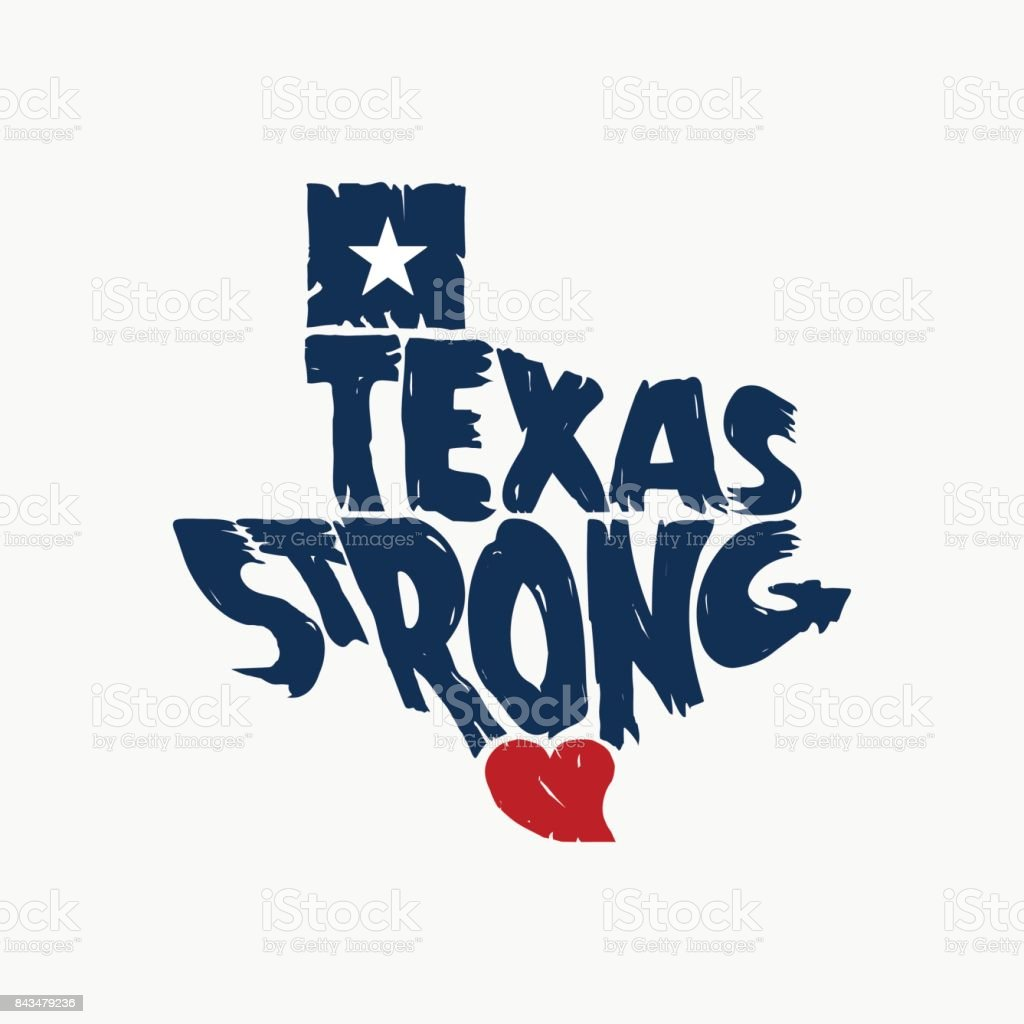 Texas Strong Map Logo Grunge Design vector art illustration