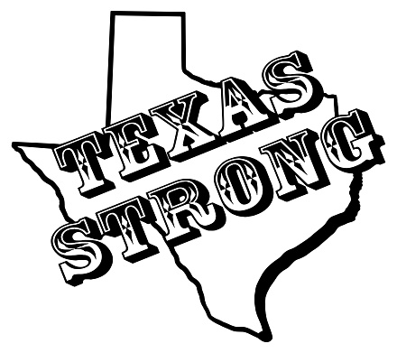 Texas Strong on outline of the state of texas