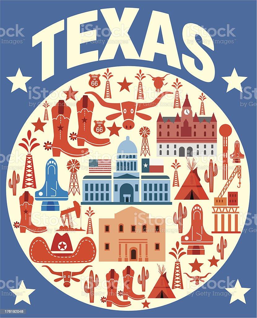 Texas Symbols vector art illustration