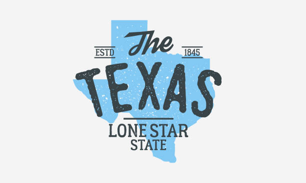 Texas - The Lone Star State. Texas state logo, label, poster. Vintage poster. Print for T-shirt, typography. Vector illustration Vector illustration texas stock illustrations