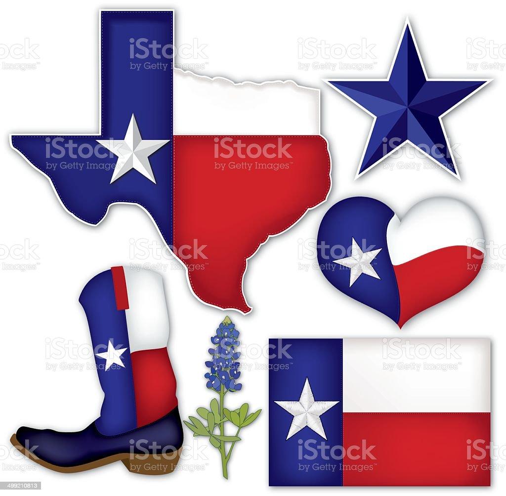 Texas Things vector art illustration