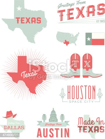 A set of vintage-style icons and typography representing the state of Texas, including Austin, Houston and Dallas. Each items is on a separate layer. Includes a layered Photoshop document. Ideal for both print and web elements.