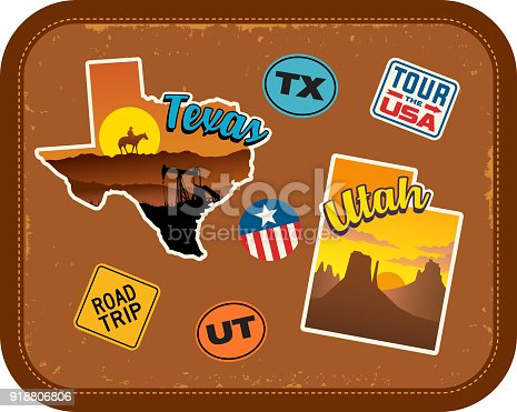 Texas, Utah travel stickers with scenic attractions and retro text. State outline shapes. State abbreviations and tour USA stickers. Vintage suitcase background