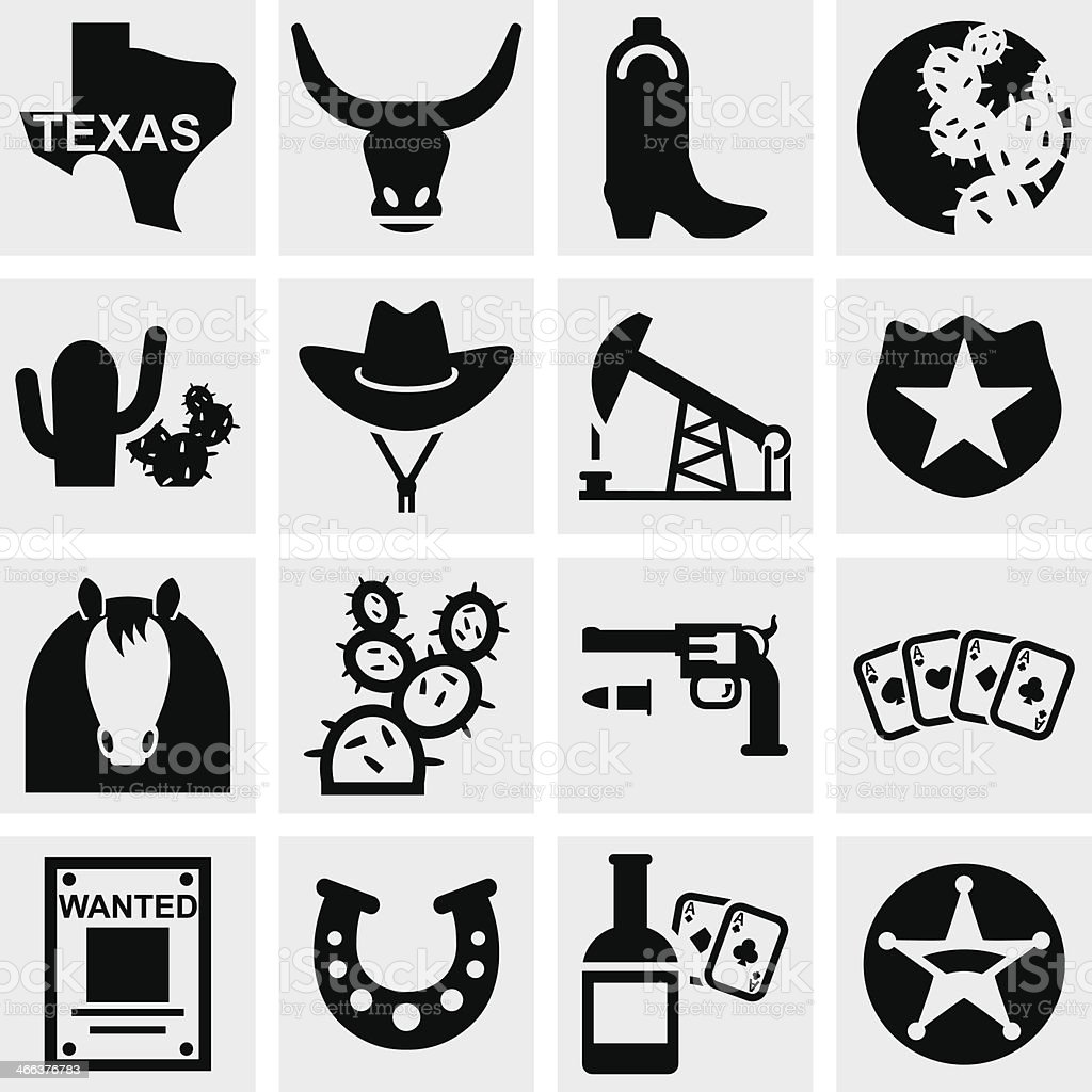 Texas vector icons set on gray vector art illustration