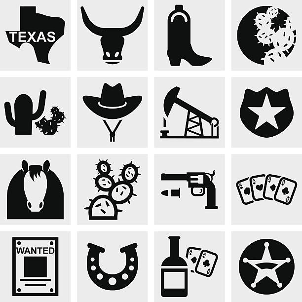 texas-vektor-icons set auf grau - cowboystiefel stock-grafiken, -clipart, -cartoons und -symbole