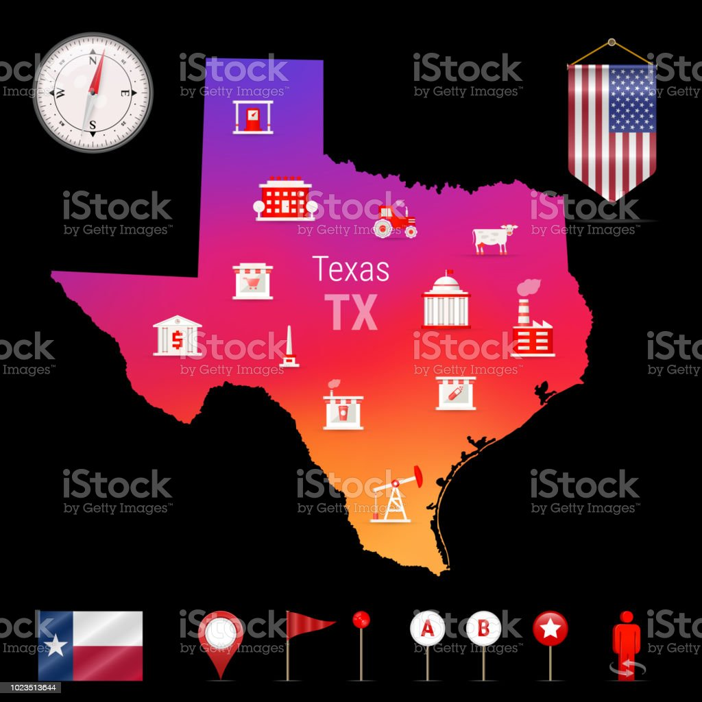 Texas Vector Map Night View Compass Icon Map Navigation Elements Pennant  Flag Of The Usa Industries Icons Stock Illustration - Download Image Now