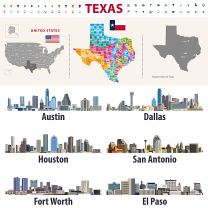Texas's vector high detailed map showing counties formations. Largest cities skylines of Texas