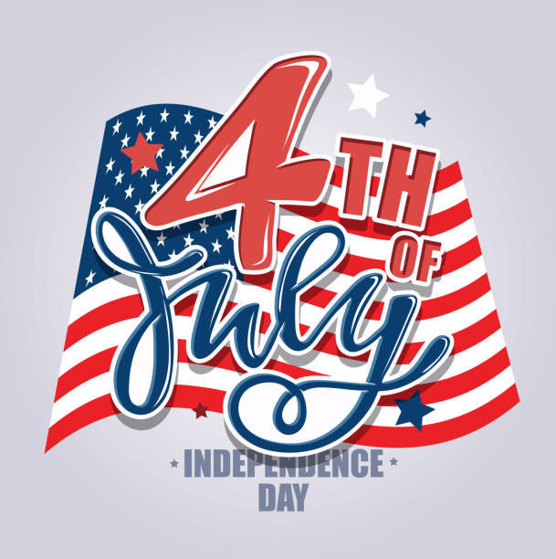text 4th of july. independence day vector lettering typography for postcard, card, banner. celebration calligraphy. us military armed forces typography concept . national poster design - happy 4th of july stock illustrations