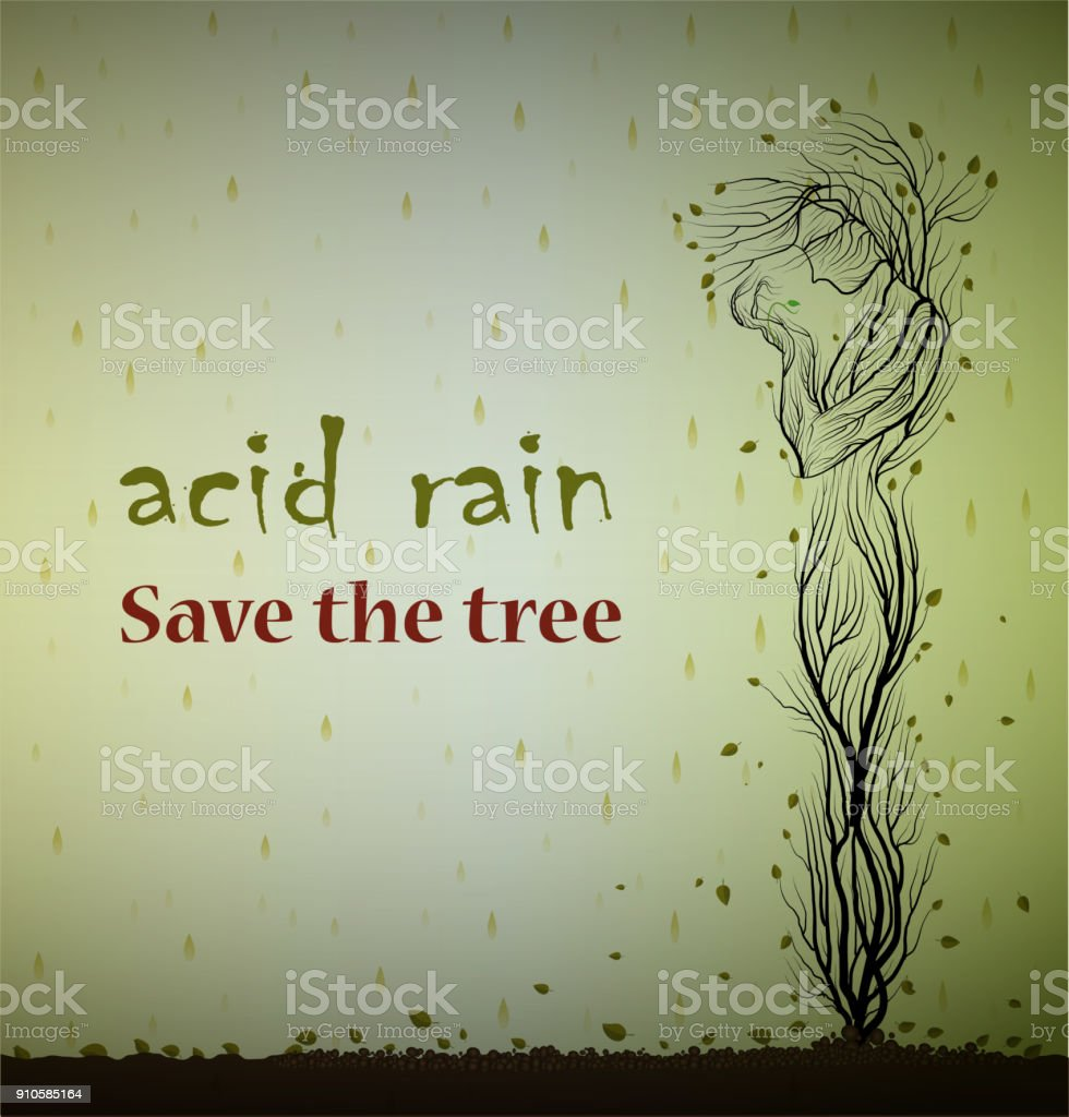 Text acid rain save the tree and dying tree looks like man and holding the last green leaf, save plant concept, eco art, vector art illustration