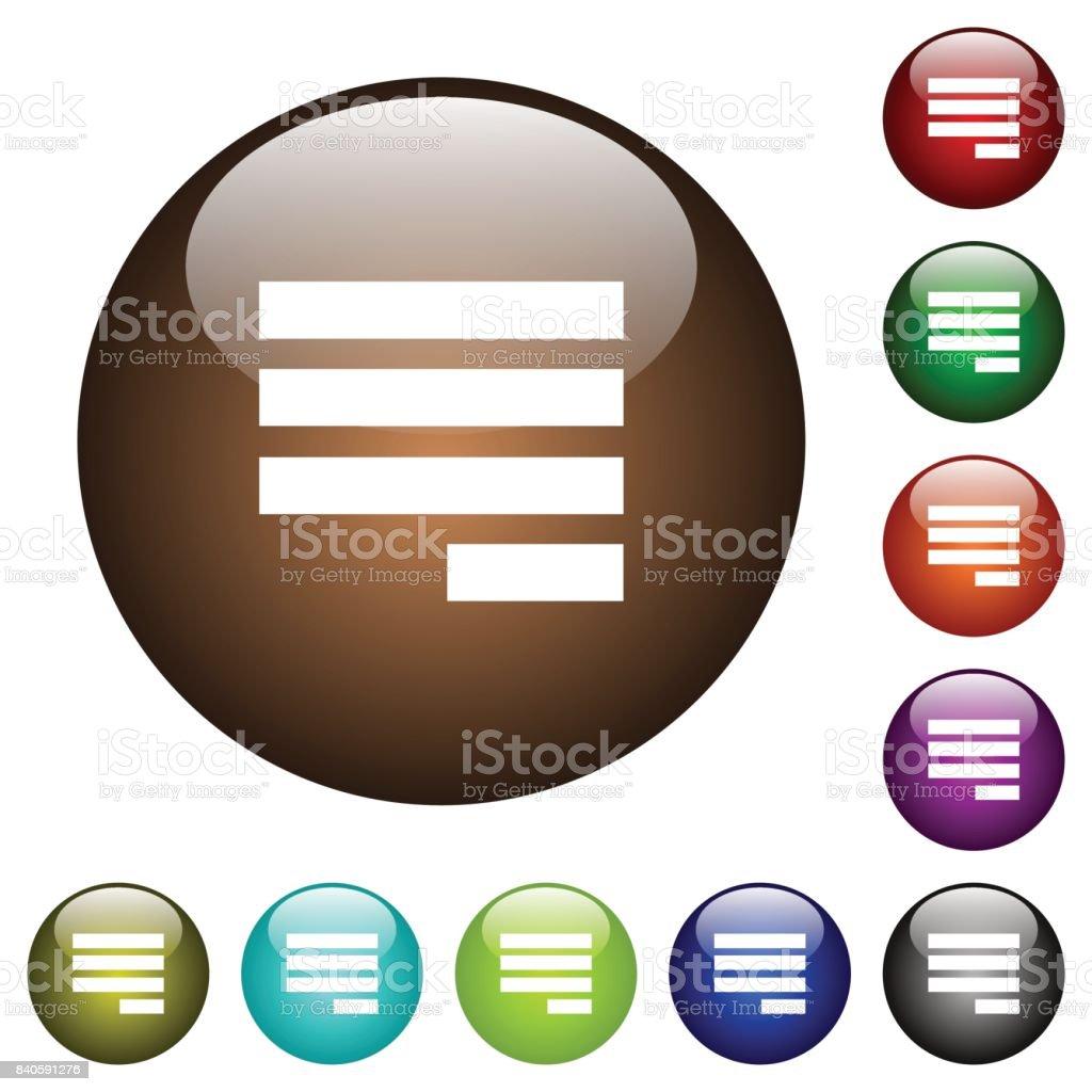 Ausrichten Von Text Letzte Zeile Richtige Farbe Glas Knöpfe Zu  Rechtfertigen Lizenzfreies Ausrichten Von Text Letzte