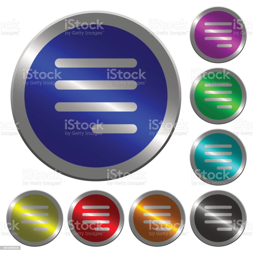 Text align justify last row right luminous coin-like round color buttons