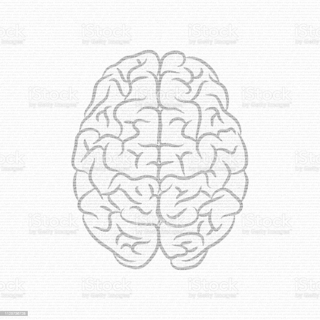 Text and brain silhouettes - illustrazione arte vettoriale