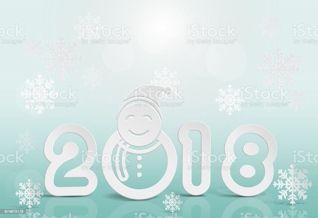 2018 Text And Snowman On Blur Background In Happy New Year Concept