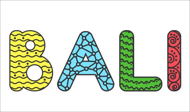 text bali in gekritzelart - denpasar stock-grafiken, -clipart, -cartoons und -symbole