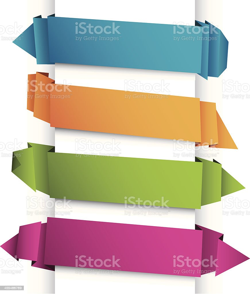 Text banners origami style royalty-free stock vector art
