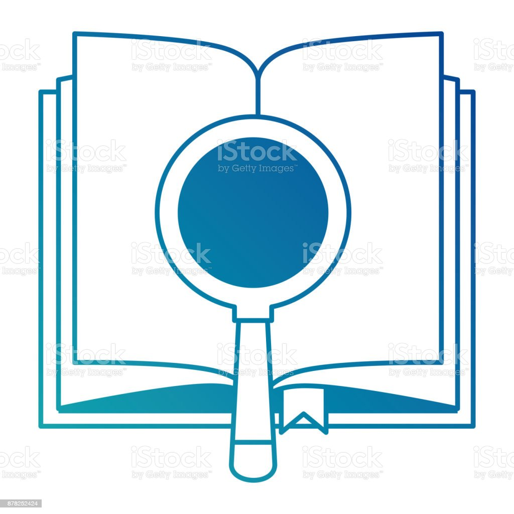 text book with magnifying glass vector art illustration