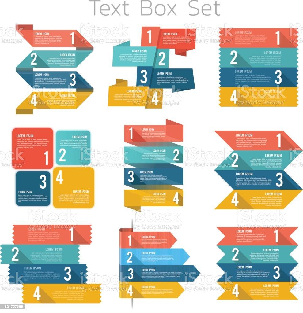 Text box set vector art illustration