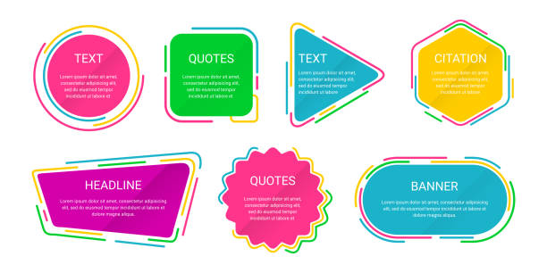 Text Box Template Colorful Text Box Template Colorful for Quote, Motivation, Headline, Citation, Web Banner riz stock illustrations
