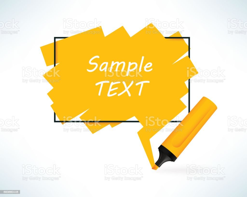 Text box with pen marker. Yellow color frame with copy space.. Vector illustration in realistic style. vector art illustration