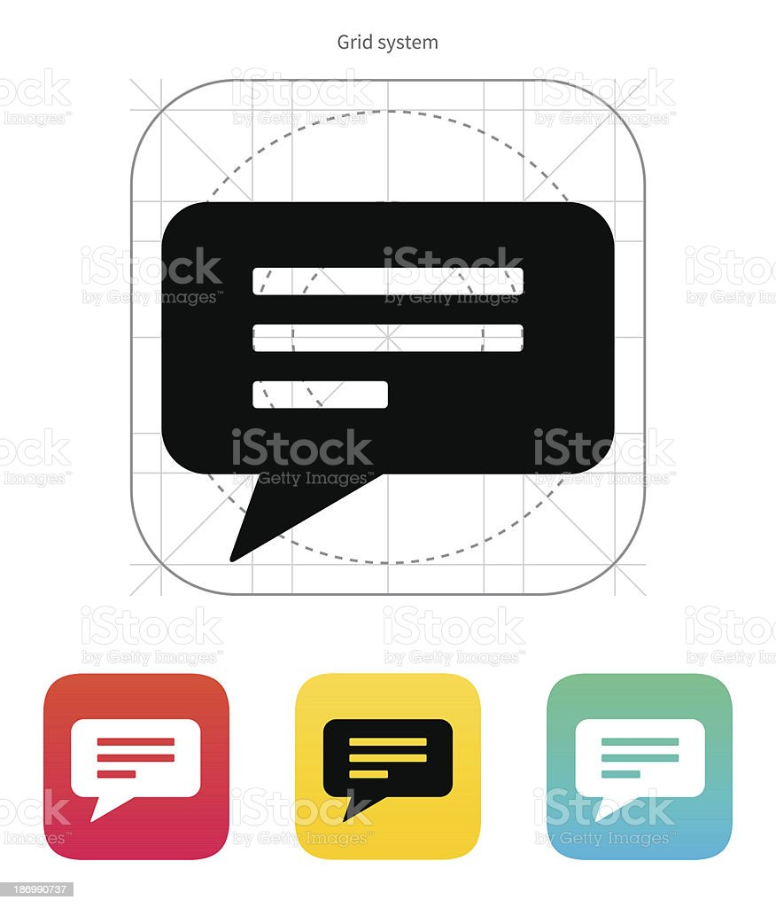 Text bubble icon. Vector illustration. royalty-free stock vector art