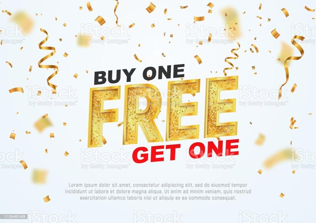 Text-Köp en få en gratis på ljus bakgrund vektorillustration. Bästa erbjudandet shopping - Royaltyfri Affisch vektorgrafik