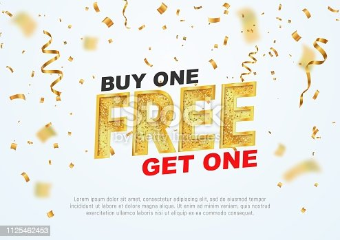 istock Text Buy one get one free on light background vector illustration. Best offer shopping 1125462453
