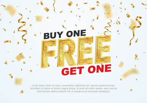 Text Buy one get one free on light background vector illustration. Best offer shopping clipart