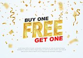 Text Buy one get one free on light background vector illustration. Best offer
