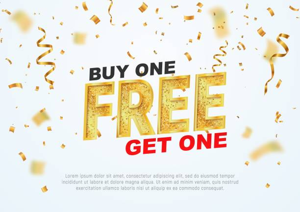 Text Buy one get one free on light background vector illustration. Best offer shopping Text Buy one get one free on light background vector illustration. Best offer single object stock illustrations